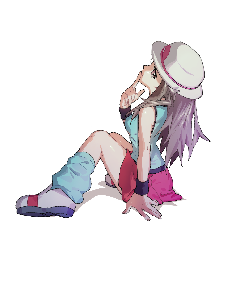 1girl ankea_(a-ramo-do) bare_shoulders blue_(pokemon) blue_legwear blue_shirt breasts brown_eyes brown_hair closed_mouth finger_to_mouth full_body hand_up happy hat highres long_hair looking_at_viewer medium_breasts miniskirt pokemon pokemon_(game) pokemon_frlg red_skirt shiny shiny_hair shirt shoes simple_background sitting skirt sleeveless sleeveless_shirt smile socks solo white_background white_footwear white_headwear wristband