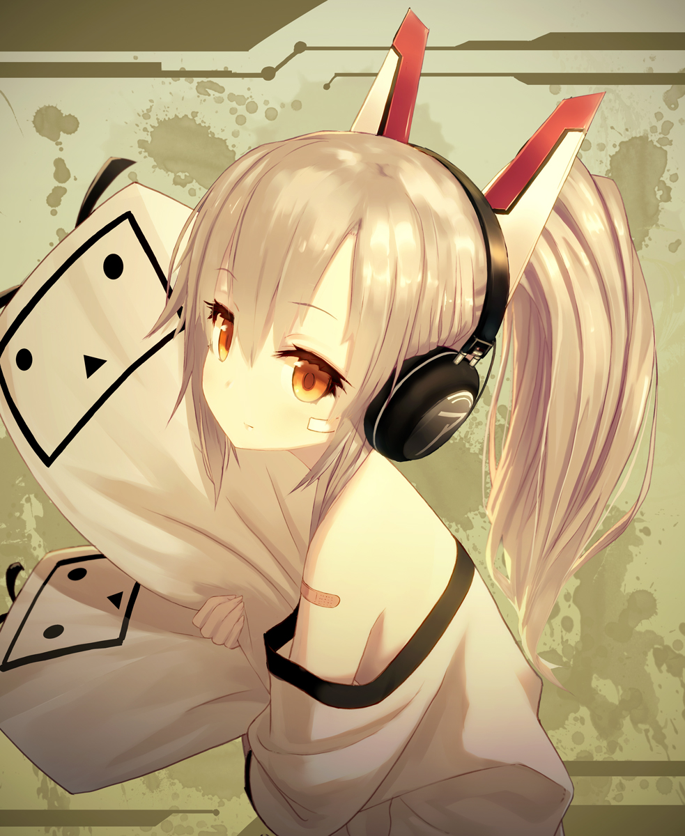 1girl ayanami_(azur_lane) azur_lane bandaid_on_arm commentary_request eyebrows_visible_through_hair headgear headphones high_ponytail highres izumo_(user_cmcy2878) light_brown_hair object_hug off_shoulder pillow ponytail shirt white_shirt