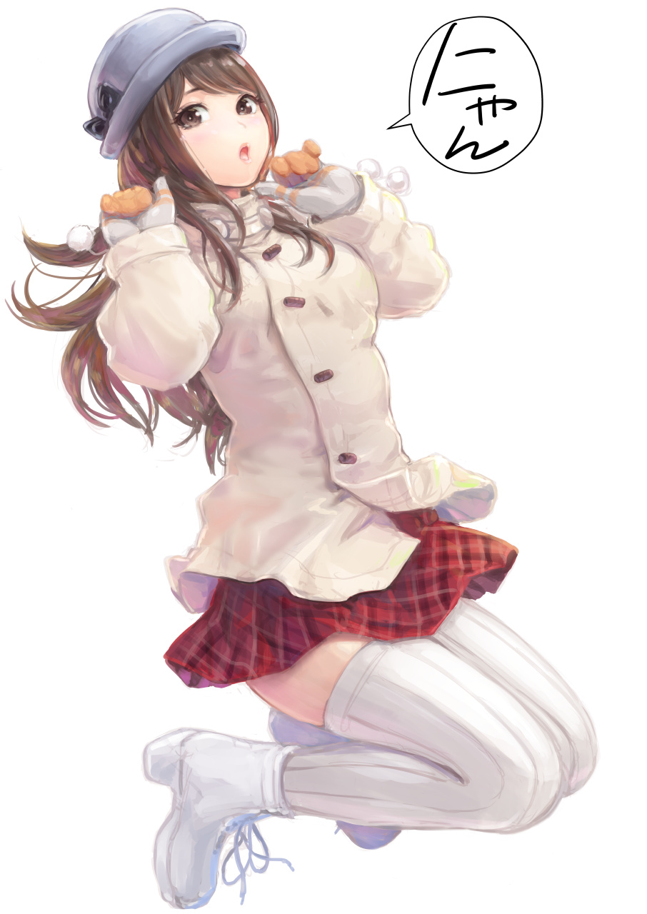 1girl :o black_bow bow brown_eyes brown_hair carina_(xiaowoo) coat commentary_request full_body gloves grey_headwear hat hat_bow highres long_hair long_sleeves open_mouth original parted_lips plaid plaid_skirt red_skirt ribbed_legwear simple_background skirt solo speech_bubble thigh-highs translated white_background white_footwear white_legwear zettai_ryouiki