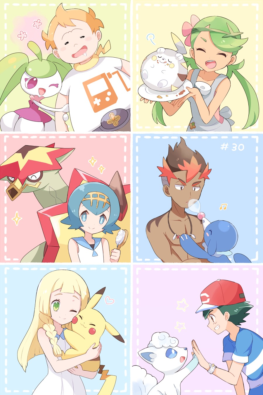 3boys 3girls :3 =3 ahoge alolan_vulpix arm_hug arm_up bangs bare_shoulders baseball_cap black_hair blonde_hair blue_eyes blue_hair blue_sailor_collar blue_sclera blue_shirt blush blush_stickers braid breasts brown_eyes brown_hair bubble cheek-to-cheek chest closed_eyes closed_mouth collarbone crumbs dark_skin dark_skinned_male dress drooling episode_number flat_chest flower food food_on_face from_side game_boy gen_1_pokemon gen_7_pokemon green_hair green_hairband grin hair_brush hair_flower hair_ornament hairband half-closed_eyes hand_up handheld_game_console hands_up happy hat heart highres holding holding_pokemon hug jpeg_artifacts kaki_(pokemon) licking_lips lillie_(pokemon) long_hair looking_at_another looking_down lying mamane_(pokemon) mao_(pokemon) mei_(maysroom) multicolored_hair multiple_boys multiple_girls musical_note number on_back one_eye_closed open_mouth orange_hair overalls pikachu pink_flower pink_shirt plate pokemon pokemon_(anime) pokemon_(creature) pokemon_sm_(anime) popplio profile red_headwear redhead sailor_collar saliva satoshi_(pokemon) shiny shiny_hair shirt shirtless short_hair short_sleeves sideways_mouth sleeveless sleeveless_dress sleeveless_shirt small_breasts smile sparkle standing star steenee strapless_shirt striped striped_shirt suiren_(pokemon) swept_bangs teeth tied_hair togedemaru tongue tongue_out trial_captain turtonator twin_braids twintails two-tone_hair upper_body violet_eyes white_dress white_eyes white_shirt yellow_hairband
