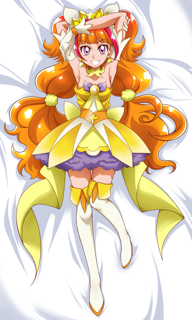 1girl amanogawa_kirara armpits arms_up bangs bed_sheet blunt_bangs boots bow breasts choker commentary_request cure_twinkle dakimakura dress earrings eyebrows_visible_through_hair from_above full_body gloves go!_princess_precure grin hair_ornament hanzou highlights highres jewelry long_hair looking_at_viewer lying magical_girl multicolored_hair on_back orange_hair pink_eyes precure shiny shiny_hair short_dress sleeveless sleeveless_dress small_breasts smile solo star star_earrings striped striped_dress thigh-highs thigh_boots twintails very_long_hair white_footwear white_gloves yellow_bow yellow_dress