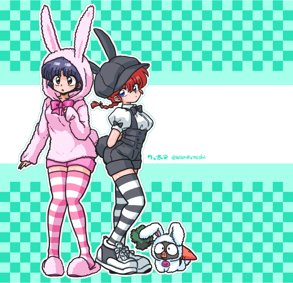 2girls :o animal_costume animal_hat animal_hood arms_behind_back artist_name bangs black_bow black_footwear black_hair black_legwear black_neckwear black_overalls blue_eyes bow bowtie braid brown_eyes bunny_costume bunny_hat bunny_hood bunny_tail cabbie_hat carrot checkered checkered_background closed_mouth commentary cross-laced_footwear fake_tail from_side genderswap genderswap_(mtf) green_background hat head_tilt hood hood_up light_frown long_hair long_sleeves looking_at_viewer multiple_girls overall_shorts overalls p-chan parted_lips pig pink_footwear pink_legwear pink_neckwear pink_shorts pink_sweater puffy_short_sleeves puffy_sleeves ranma-chan ranma_1/2 redhead saotome_ranma shirt shoes short_hair short_shorts short_sleeves shorts signature single_braid slippers sneakers standing striped striped_legwear sweater tail tendou_akane thigh-highs twitter_username wanta_(futoshi) white_shirt zettai_ryouiki