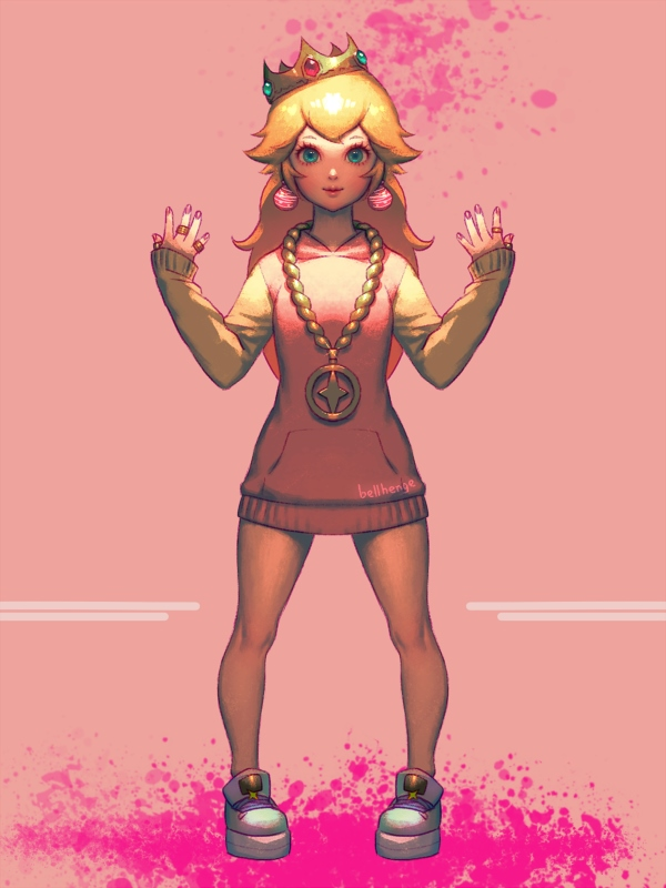1girl bellhenge blonde_hair blue_eyes chain chain_necklace commentary cosplay crown earrings eyelashes flat_chest full_body gold_chain hime_(splatoon) hime_(splatoon)_(cosplay) hood hood_down hoodie jewelry mario_(series) nintendo pigeon-toed platform_footwear princess_peach raglan_sleeves ring shoes sleeves_past_wrists sneakers solo splatoon_(series) splatoon_2 splatoon_2:_octo_expansion standing thumb_ring