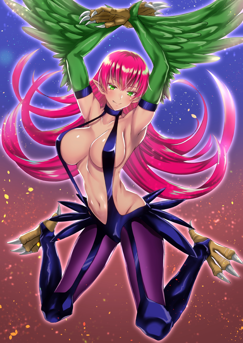 1girl armpits arms_up bangs bare_shoulders blush breasts claws closed_mouth commentary_request duel_monster fang feathered_wings full_body gradient gradient_background green_eyes hair_between_eyes harpie_lady harpy highres large_breasts legs_apart long_hair looking_at_viewer monster_girl navel pink_hair pointy_ears purple_legwear shiny shiny_skin slingshot_swimsuit smile solo stomach swimsuit takecha talons very_long_hair wings yuu-gi-ou
