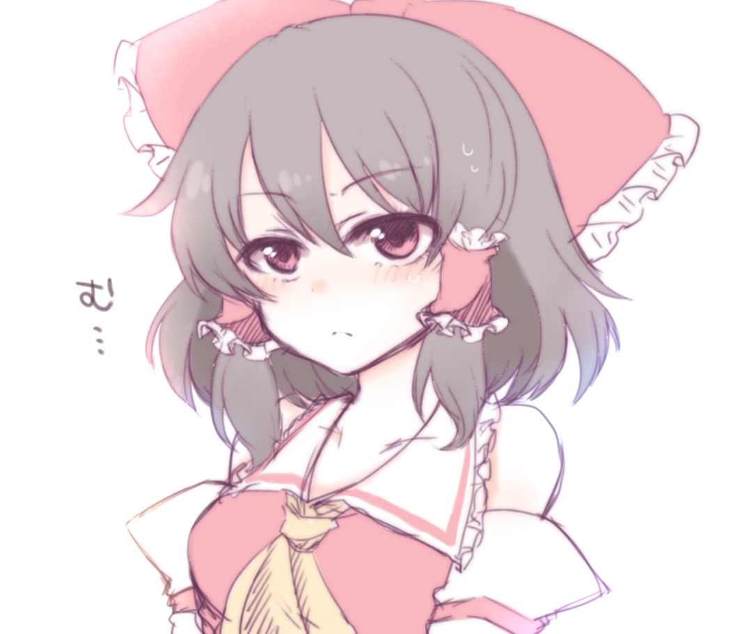 1girl ascot bare_shoulders blouse blush bow breasts brown_hair collarbone detached_sleeves expressionless frown hair_bow hair_tubes hakurei_reimu large_bow medium_breasts medium_hair red_eyes ribbon-trimmed_sleeves ribbon_trim shiohachi simple_background solo sweatdrop touhou translated v-shaped_eyebrows white_background wide_sleeves