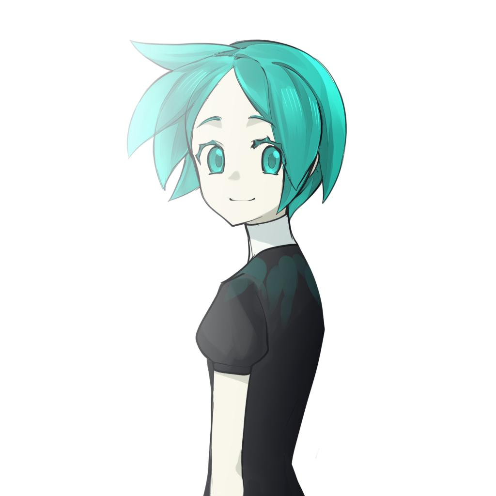 1other androgynous aqua_eyes aqua_hair cao_hong_anh colored_eyelashes gem_uniform_(houseki_no_kuni) green_eyes green_hair houseki_no_kuni looking_at_viewer looking_back phosphophyllite short_hair smile solo upper_body white_background