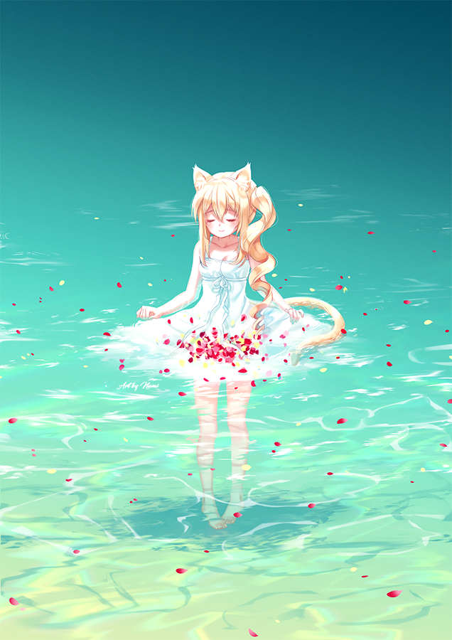 1girl animal_ear_fluff animal_ears bangs bare_arms bare_shoulders barefoot blonde_hair cat_ears cat_girl cat_tail closed_eyes closed_mouth commentary day dress english_commentary eyebrows_visible_through_hair facing_viewer hair_between_eyes long_hair natsumii_chan original outdoors petals petals_on_liquid ringlets side_ponytail sidelocks sleeveless sleeveless_dress smile solo standing tail very_long_hair water white_dress