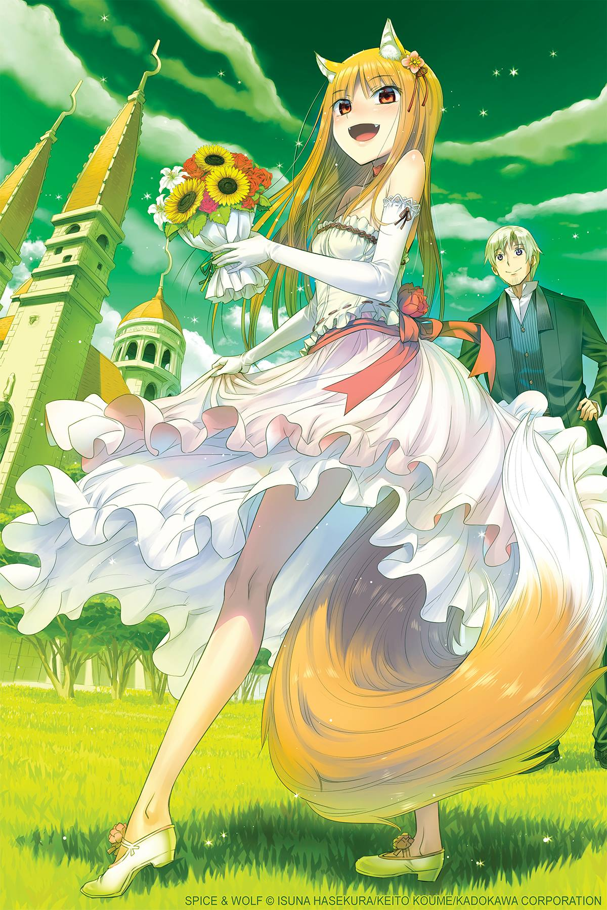 1boy 1girl :d animal_ear_fluff animal_ears arched_soles artist_name bangs bare_legs bare_shoulders bouquet breasts castle clouds cloudy_sky company_name copyright_name craft_lawrence dress elbow_gloves fangs fisheye flower frilled_dress frills full_body gloves grass green_sky green_theme high_heels highres historical holding holding_bouquet holo kadokawa kneepits koume_keito large_tail layered_dress legs_apart long_hair long_legs looking_at_viewer official_art on_grass open_mouth orange_eyes orange_hair outdoors outstretched_leg perspective red_flower red_ribbon ribbon ribbon-trimmed_dress sash shadow shiny shiny_hair skinny sky small_breasts smile spice_and_wolf standing straight_hair sunflower tail too_many too_many_frills watermark wedding_dress white_dress white_gloves wolf_ears wolf_girl wolf_tail yellow_flower