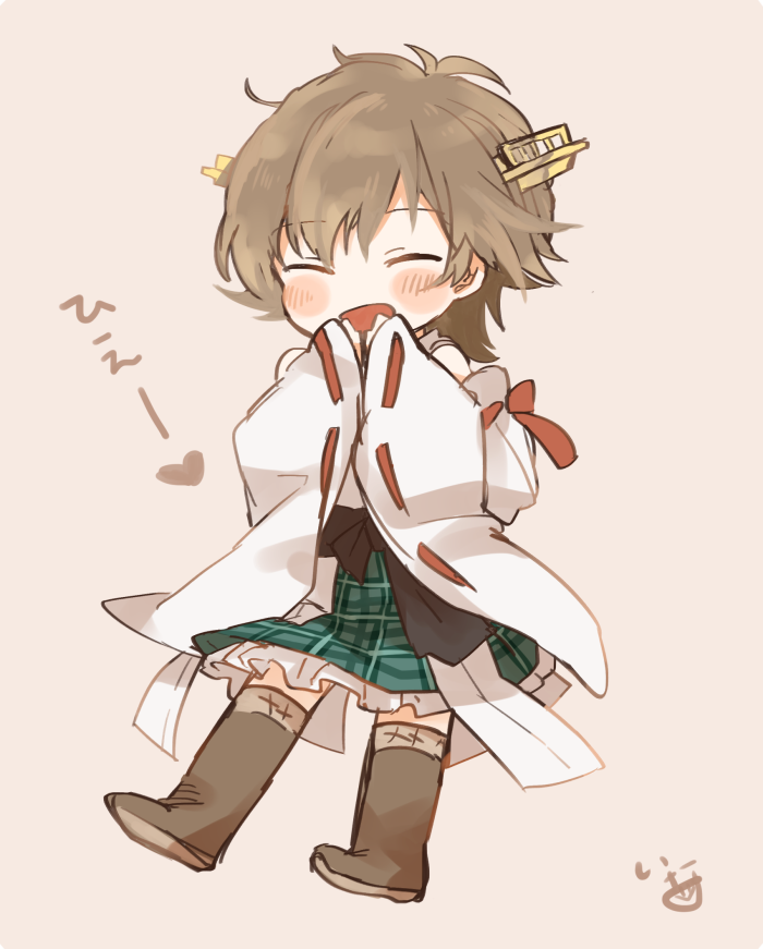 1girl :d bare_shoulders black_sash blush boots brown_hair brown_legwear closed_eyes commentary covering_mouth detached_sleeves eyebrows_visible_through_hair frilled_skirt frills full_body hairband headgear heart hiei_(kantai_collection) ina_(1813576) japanese_clothes kantai_collection kimono long_sleeves messy_hair nontraditional_miko open_mouth ribbon-trimmed_sleeves ribbon_trim sash short_hair signature simple_background skirt smile solo thigh-highs thigh_boots translated white_kimono wide_sleeves
