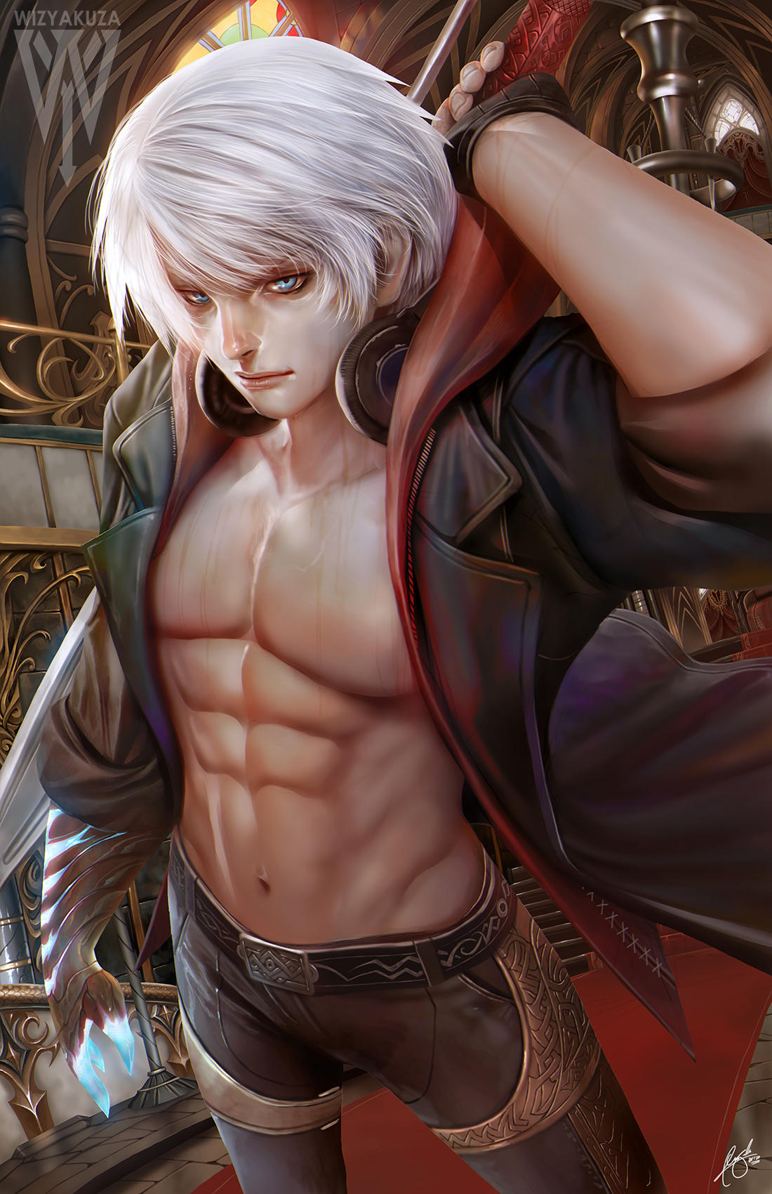 1boy abs adonis_belt artist_logo artist_name bare_chest black_pants blue_eyes ceasar_ian_muyuela chest collared_coat commentary devil_bringer devil_may_cry devil_may_cry_4 english_commentary fingerless_gloves gloves glowing glowing_hand gold_trim headphones headphones_around_neck highres hood hood_down hooded_coat left-handed lips looking_at_viewer male_focus navel nero_(devil_may_cry) nose pants realistic red_queen_(sword) shirtless signature sleeves_folded_up solo toned toned_male trench_coat white_hair