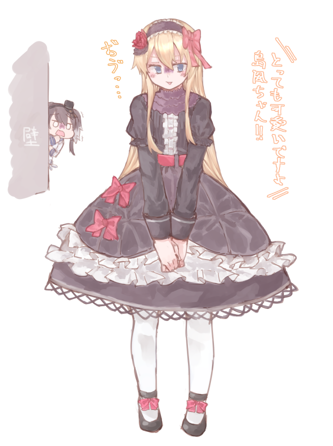 2girls alternate_costume az_toride black_dress black_footwear black_hair blonde_hair blue_eyes blush cosplay dress embarrassed gothic_lolita headdress kantai_collection lolita_fashion mary_janes multiple_girls pantyhose peeking_out ribbon shimakaze_(kantai_collection) shoes short_hair short_hair_with_long_locks solo_focus thigh-highs tokitsukaze_(kantai_collection) translated white_legwear