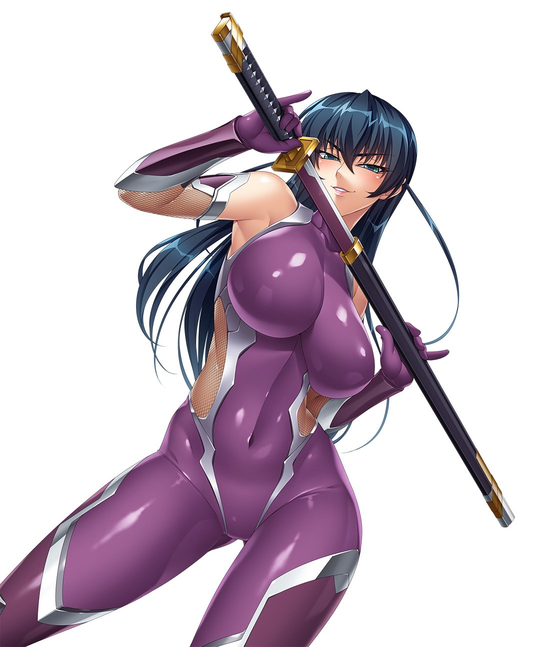 1girl aqua_eyes bangs bare_shoulders blue_hair bodysuit breasts covered_collarbone covered_navel elbow_gloves eyebrows_visible_through_hair fishnets gloves highres holding holding_sword holding_weapon igawa_asagi impossible_bodysuit impossible_clothes kagami_hirotaka katana large_breasts lipstick long_hair makeup official_art parted_lips sheath shiny shiny_clothes shiny_hair shiny_skin simple_background skin_tight sleeveless smile solo sword taimanin_(series) taimanin_asagi thigh-highs weapon white_background