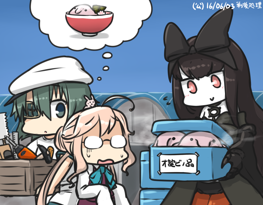 3girls ahoge animal animal_on_head aqua_eyes bare_shoulders black_hair blobfish blue_sky bow bowtie box bunny_on_head chibi claw_hammer commentary_request dated day double_bun dress eyepatch flying_sweatdrops food glasses green_hair hair_bow hammer hamu_koutarou kantai_collection kiso_(kantai_collection) long_hair makigumo_(kantai_collection) multiple_girls noodles on_head open_mouth pink_hair rabbit ramen red_eyes ruler saw school_uniform screwdriver seaplane_tender_hime shinkaisei-kan shirt sky sleeveless sleeveless_dress sleeves_past_fingers sleeves_past_wrists spoken_food sweat thought_bubble tools translated turn_pale twintails white_shirt