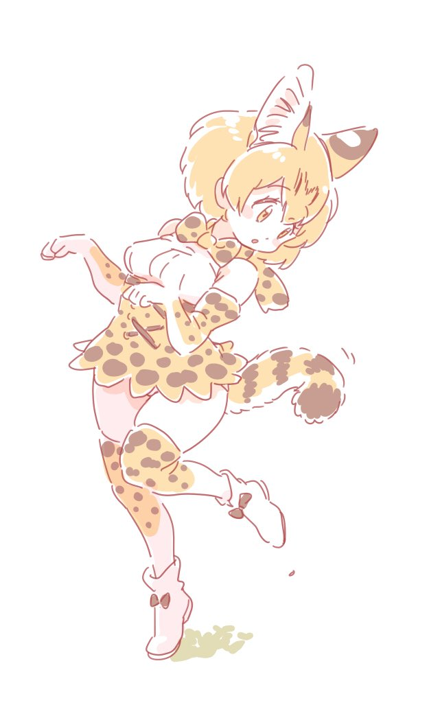 1girl animal_ear_fluff animal_ears bare_shoulders belt blonde_hair boots bow bowtie commentary_request elbow_gloves eyebrows_visible_through_hair full_body gloves high-waist_skirt kemono_friends mitsumoto_jouji multicolored_hair paw_pose serval_(kemono_friends) serval_ears serval_print serval_tail shoe_bow shoes short_hair skirt sleeveless solo standing standing_on_one_leg tail thigh-highs zettai_ryouiki