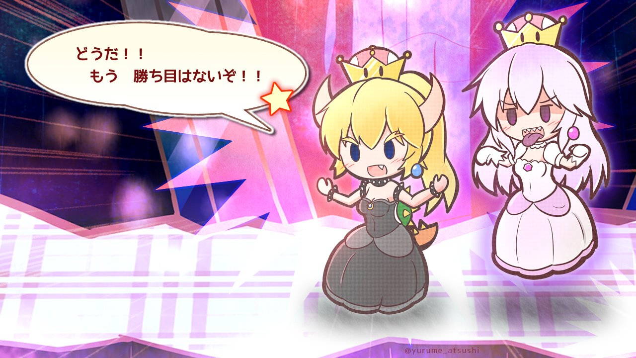 2girls black_dress black_eyes blonde_hair blue_eyes bowsette bracelet brooch collar commentary crown dress earrings fang floating gloves horns jewelry long_hair luigi's_mansion mario_(series) multiple_girls new_super_mario_bros._u_deluxe open_mouth pale_skin paper_mario parody ponytail princess_king_boo sharp_teeth solid_oval_eyes spiked_bracelet spiked_collar spikes style_parody super_crown tail teeth tongue tongue_out translated white_dress white_hair yurume_atsushi