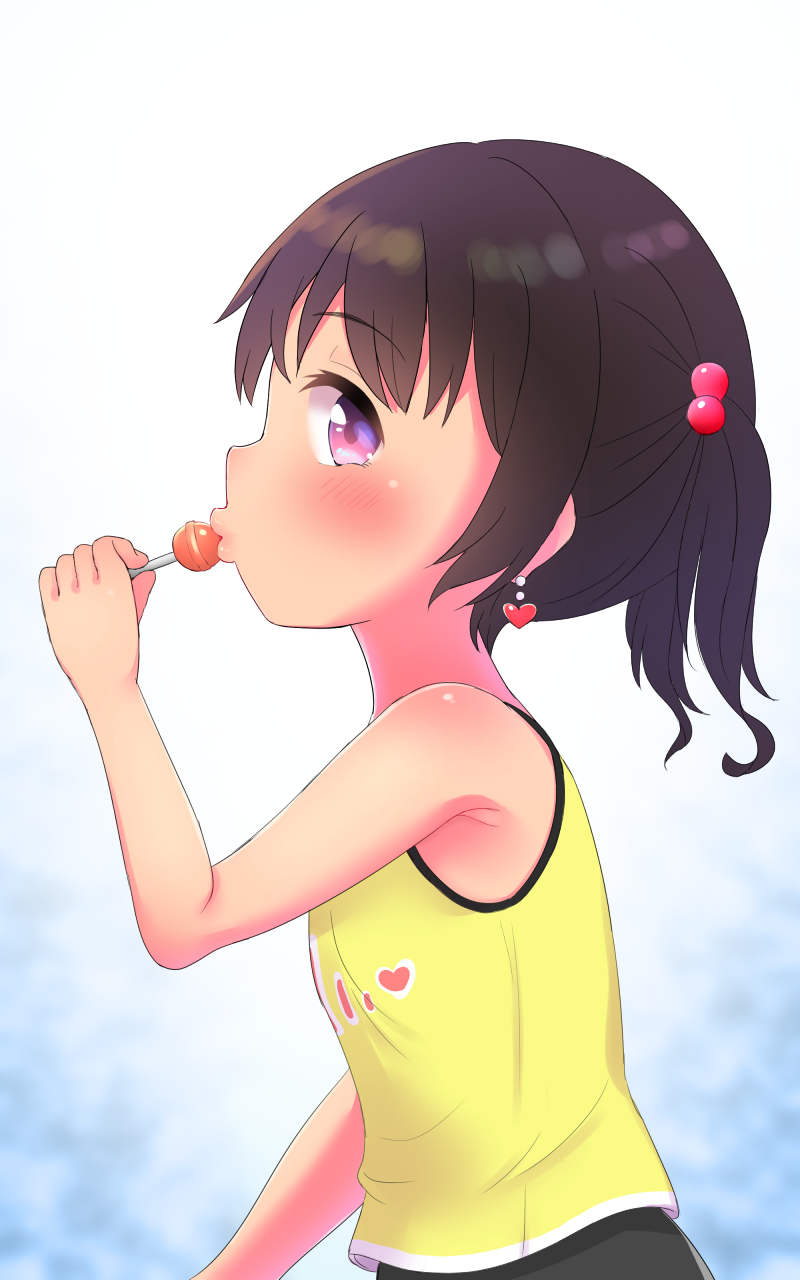 1girl arm_up armpits black_hair candy earrings eating food from_side hair_bobbles hair_ornament highres jewelry lollipop long_hair original solo tanukikouji_midori twintails upper_body vest violet_eyes yellow_vest