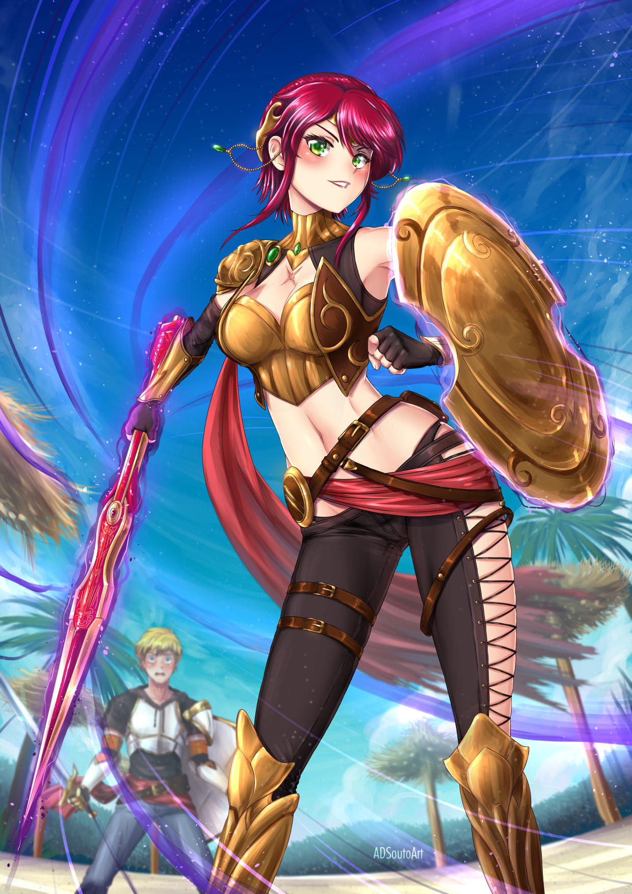 1boy 1girl adsouto alternate_costume alternate_hairstyle arm_guards armlet armor belt belt_pouch black_gloves black_panties black_pants black_shirt blonde_hair blue_eyes blue_pants blush boobplate boots breastplate breasts brown_gloves buckle buckler bustier chest_scar circlet commentary crocea_mors_(rwby) denim elbow_gloves english_commentary fingerless_gloves forehead_protector gloves gorget greaves grin gun high_heel_boots high_heels highres holding holding_shield holding_sword holding_weapon jaune_arc javelin jeans leg_armor looking_at_viewer medium_breasts milo_and_akouo multiple_boys outdoors panties pants pauldrons polearm pouch pyrrha_nikos redhead rifle rwby sarong scar shield shirt short_hair shorts shoulder_armor smile spear sword thigh-highs underwear vambraces very_short_hair weapon xiphos_(sword)