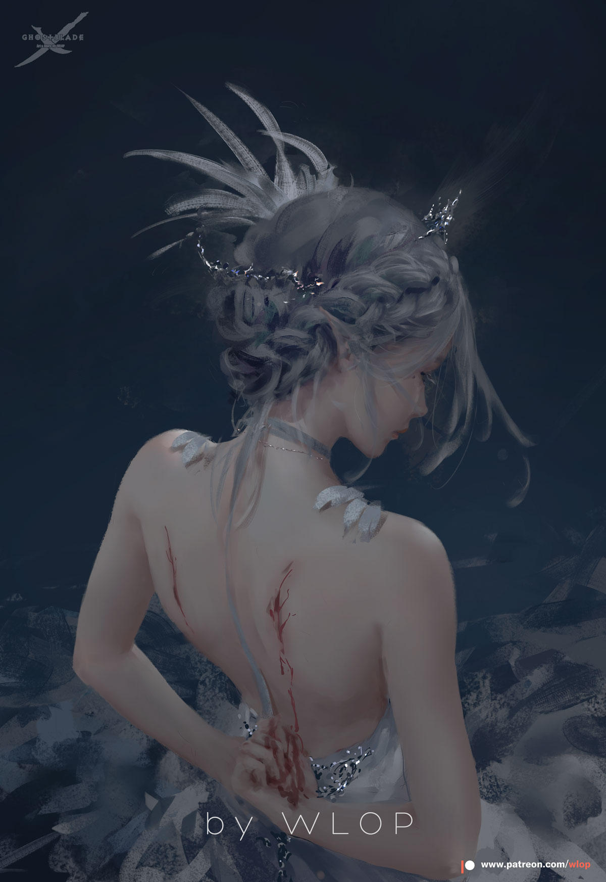 1girl artist_name backless_dress backless_outfit bare_arms bare_shoulders bleeding blood braid closed_mouth commentary crown dragon_wings dress english_commentary feathers from_behind ghostblade grey_hair hair_ornament highres injury patreon_username solo standing wings wlop