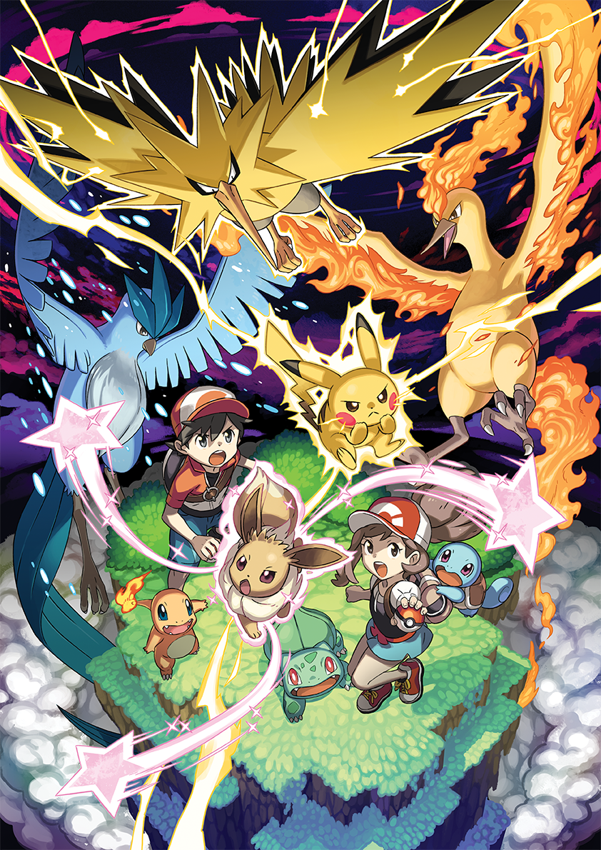 1boy 1girl arm_up articuno artist_request ayumi_(pokemon) backpack bag bangs baseball_cap bird black_eyes black_footwear black_shirt blue_eyes blue_shorts blush_stickers brown_eyes bulbasaur charmander chestnut_mouth claws clenched_hand clouds eevee electricity fangs fire from_above full_body grass hat holding holding_poke_ball kakeru_(pokemon) leg_up legs_apart mizutani_megumi moltres official_art open_mouth outdoors outstretched_arm pikachu poke_ball poke_ball_(generic) poke_ball_symbol poke_ball_theme pokemon pokemon_(game) pokemon_lgpe ponytail red_eyes red_footwear red_headwear red_shirt shirt shoes short_shorts short_sleeves shorts sky sparkle squirtle standing standing_on_one_leg star teeth tied_hair undershirt violet_eyes zapdos