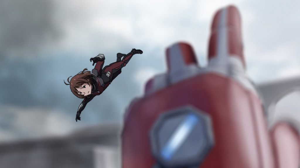 1girl alternate_costume ant-man ant-man_(cosplay) antenna_hair bangs blue_sky blurry blurry_background bodysuit brown_eyes brown_hair captain_america_civil_war closed_mouth clouds cosplay crossover day eyebrows_visible_through_hair flying full_body hand_up hidaka_ai idolmaster marvel outdoors outstretched_arm parody pov shiny shiny_hair short_hair sky solo_focus taku1122