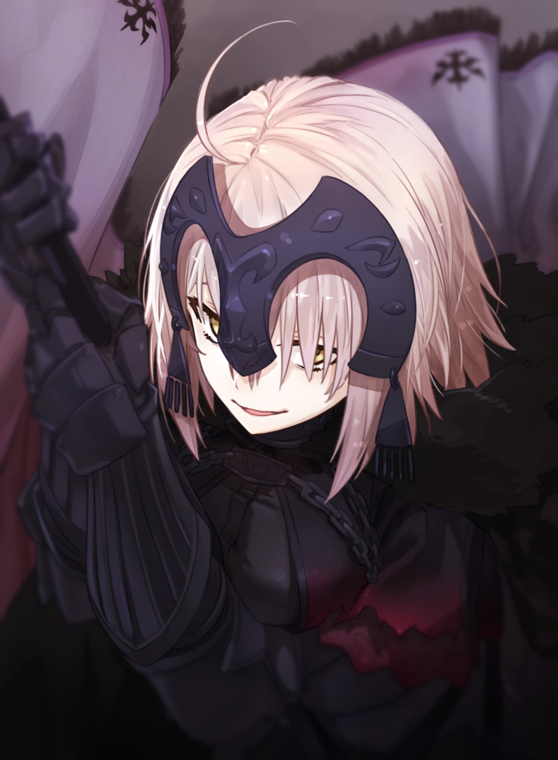 1girl ahoge armor armored_dress arms_up bangs blurry breasts chain fate/grand_order fate_(series) flag gauntlets hair_between_eyes headpiece holding holding_flag jeanne_d'arc_(alter)_(fate) jeanne_d'arc_(fate)_(all) logo looking_at_viewer m-ya mountain parted_lips red_sky short_hair silver_hair sky smile solo upper_body warrior