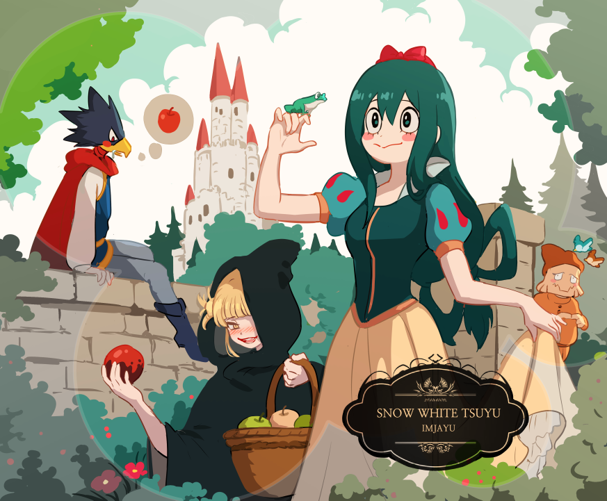 2boys 2girls animal animal_head animal_on_hand apple asui_tsuyu basket bird black_cloak black_hair blonde_hair blue_sky blush blush_stickers boku_no_hero_academia boots bow bush castle character_name cloak clouds copyright_name cosplay day disney dress fingers_together food frog fruit green_hair hair_bow hair_rings hand_up imjayu kouda_kouji long_hair looking_at_another low-tied_long_hair multiple_boys multiple_girls on_wall outdoors poison prince_charming_(disney) prince_charming_(disney)_(cosplay) puffy_short_sleeves puffy_sleeves red_bow short_hair short_sleeves sitting skirt_hold sky snow_white_(disney) snow_white_(disney)_(cosplay) snow_white_and_the_seven_dwarfs standing toga_himiko tokoyami_fumikage tree very_long_hair wall wicked_witch_(disney) wicked_witch_(disney)_(cosplay) wide_sleeves yellow_dress