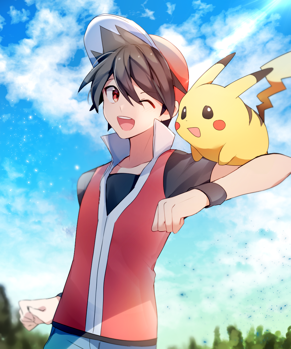 1boy arm_up baseball_cap black_hair black_shirt blue_sky blush_stickers clenched_hands clouds collarbone day gen_1_pokemon hat highres looking_at_another looking_to_the_side male_focus one_eye_closed open_mouth outdoors pikachu pokemon pokemon_(creature) pokemon_on_shoulder pokemon_special red_(pokemon) red_eyes red_headwear red_vest shirt short_hair short_sleeves sky smile standing teeth tree vest wristband yuhi_(hssh_6)