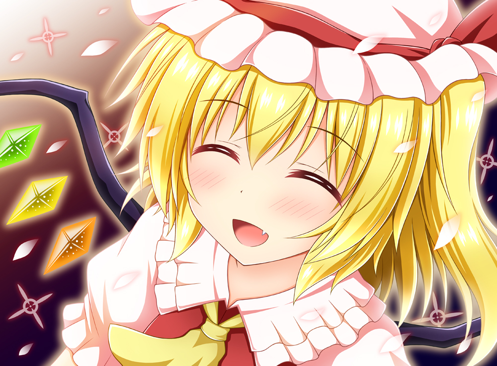 1girl :d aura blonde_hair blush commentary_request cravat crystal eyebrows_visible_through_hair facing_viewer fang flandre_scarlet frilled_shirt_collar frills gradient gradient_background hair_between_eyes hat hat_ribbon mob_cap nagana_sayui open_mouth petals puffy_short_sleeves puffy_sleeves red_vest ribbon shirt short_hair short_sleeves side_ponytail smile solo touhou upper_body vest white_headwear white_shirt wings yellow_neckwear