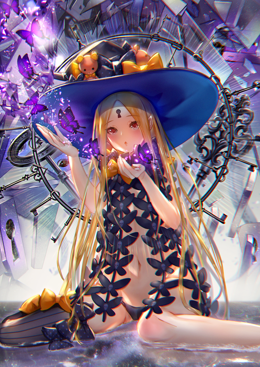 1girl abigail_williams_(fate/grand_order) bangs bare_shoulders black_bow black_headwear black_panties blonde_hair blush bow bug butterfly ekm fate/grand_order fate_(series) forehead hair_bow hat highres insect key keyhole long_hair looking_at_viewer navel open_mouth orange_bow panties parted_bangs polka_dot polka_dot_bow red_eyes sitting solo stuffed_animal stuffed_toy teddy_bear thighs underwear wariza witch_hat
