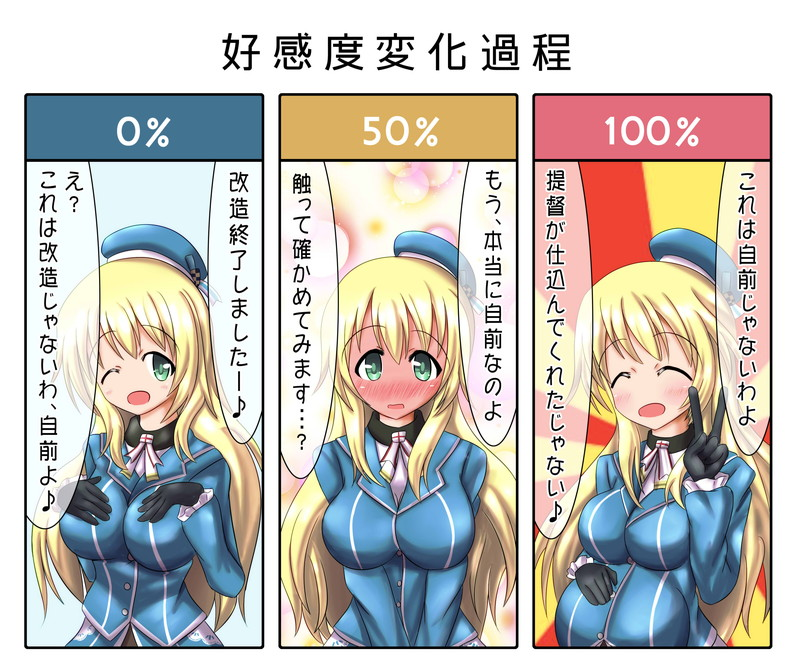 1girl atago_(kantai_collection) beret blonde_hair blush breasts full-face_blush green_eyes hands_on_own_chest hat kantai_collection large_breasts long_hair military military_uniform nakadashima pregnant scarf translation_request uniform v