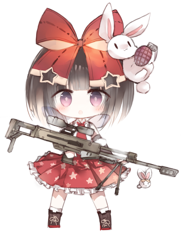 1girl :o bangs black_hair blush boots bow brown_footwear chibi collared_shirt commentary_request cross-laced_footwear explosive frilled_skirt frills full_body girls_frontline grenade gun hair_bow holding holding_gun holding_weapon kotatu_(akaki01aoki00) lace-up_boots looking_at_viewer m99_(girls_frontline) object_namesake parted_lips pleated_skirt print_skirt red_bow red_neckwear red_skirt rifle shirt simple_background skirt sniper_rifle socks solo standing star star_print violet_eyes weapon white_background white_legwear white_shirt zijiang_m99
