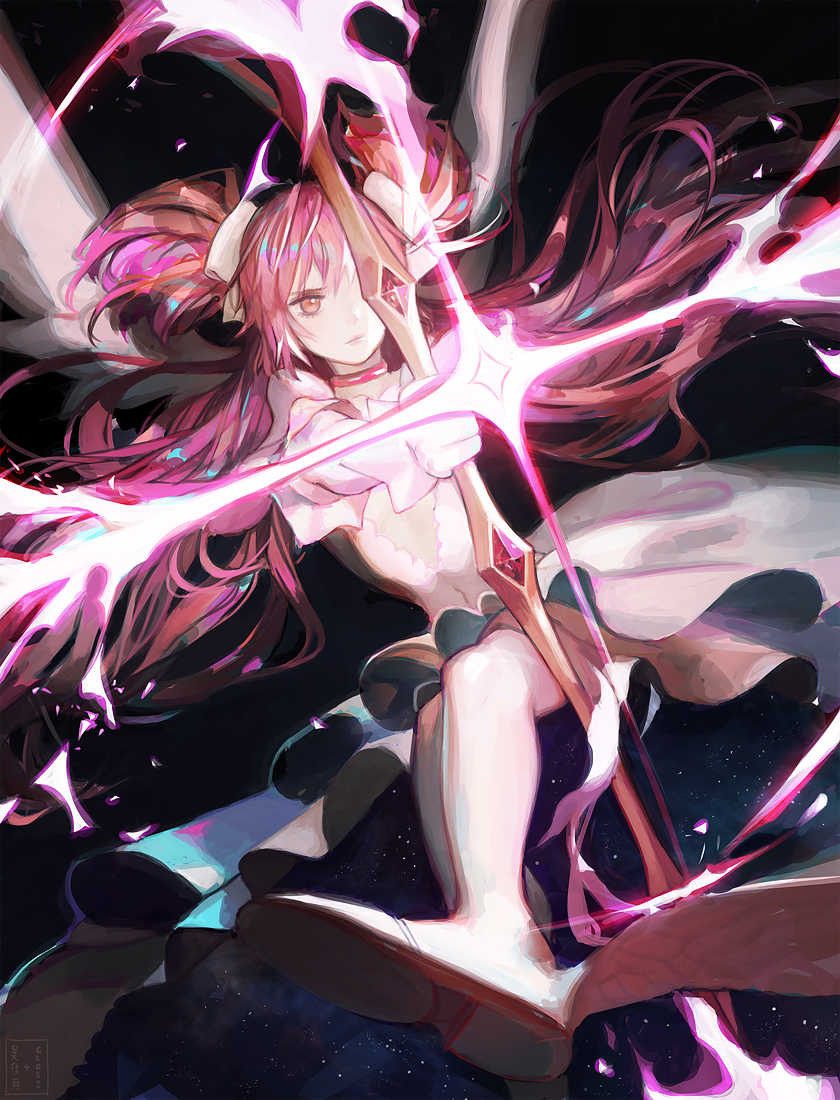 1girl artist_name bow_(weapon) choker collaboration commentary covering covering_one_eye dark_background dress dutch_angle expressionless floating_hair frilled_dress frills glo-s-s gloves glowing goddess_madoka hair_ribbon holding holding_bow_(weapon) holding_weapon jiayue_wu kaname_madoka long_dress long_hair looking_away mahou_shoujo_madoka_magica pink_hair pink_neckwear pink_theme pointing_weapon ribbon short_twintails simple_background sky solo star star_(sky) starry_sky thigh-highs twintails very_long_hair weapon white_dress white_gloves white_legwear white_ribbon wide_sleeves