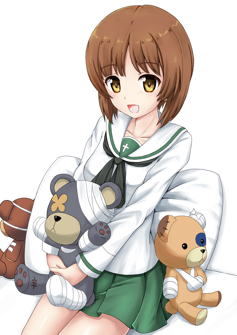 1girl :d actas_(studio) bandages bangs black_neckwear blouse boko_(girls_und_panzer) brown_eyes brown_hair commentary cute eyebrows_visible_through_hair flipper girls_und_panzer green_skirt holding holding_stuffed_animal long_sleeves looking_at_viewer media_factory miniskirt moe neckerchief nishizumi_miho on_bed ooarai_school_uniform open_mouth pillow pleated_skirt school_uniform serafuku shadow short_hair sitting skirt smile solo stuffed_animal stuffed_toy teddy_bear tokyo_mx white_background white_blouse