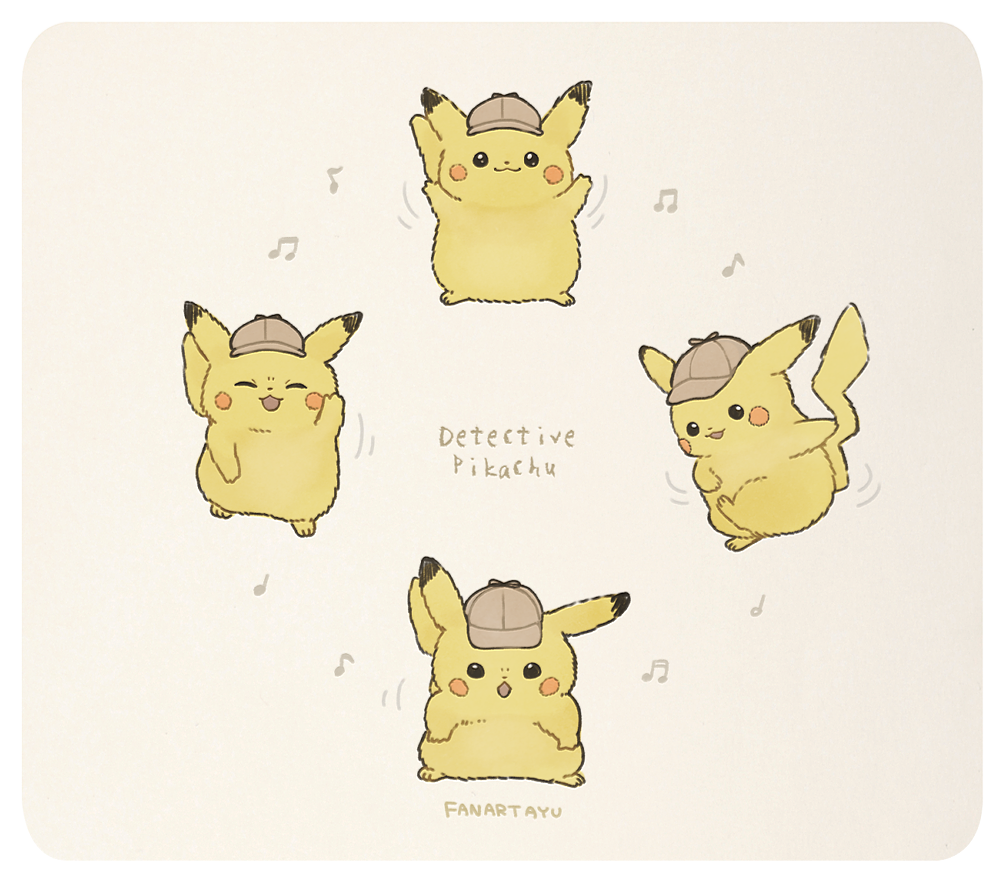 :3 :d :o ^_^ artist_name ayu_(mog) beamed_eighth_notes beige_background cabbie_hat character_name closed_eyes commentary copyright_name dancing detective_pikachu detective_pikachu_(movie) detective_pikachu_(series) eighth_note full_body gen_1_pokemon hat musical_note no_humans open_mouth pikachu pokemon pokemon_(creature) quarter_note simple_background smile