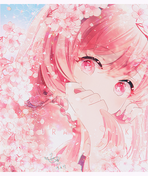 1girl character_name cherry_blossoms chromatic_aberration close-up covering covering_mouth expressionless eyebrows_visible_through_hair face fingernails flower flower-shaped_pupils hair_between_eyes hand_in_hair hatsune_miku head_tilt hzrn_(ymj924) light_particles long_hair looking_at_viewer nail_polish no_nose petals pink_eyes pink_flower pink_hair pink_nails pink_theme sakura_miku signature solo sparkle upper_body vocaloid