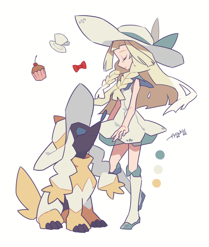 1girl artist_name auko blonde_hair blue_bow blue_footwear bow bowtie braid cherry closed_eyes clothed_pokemon cup cupcake dog dress flat_chest food fruit full_body furfrou gen_6_pokemon hat hat_bow kneehighs lillie_(pokemon) long_hair poke_ball_symbol pokemon pokemon_(creature) pokemon_(game) pokemon_sm profile saucer see-through shoes side_braid signature simple_background sitting sleeveless sleeveless_dress smile standing sun_hat teacup tied_hair twin_braids white_background white_dress white_headwear white_legwear yellow_bow