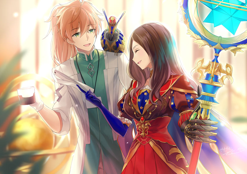 1boy 1girl :d bangs blue_gloves blurry blurry_background blurry_foreground brown_hair brown_shirt closed_eyes commentary_request cup depth_of_field elbow_gloves eyebrows_visible_through_hair fate/grand_order fate_(series) gauntlets gloves green_eyes hair_between_eyes holding holding_cup holding_staff indoors kagachi_saku labcoat leonardo_da_vinci_(fate/grand_order) light_brown_hair long_hair long_sleeves looking_at_another looking_away open_clothes open_mouth parted_bangs pleated_skirt ponytail profile puff_and_slash_sleeves puffy_short_sleeves puffy_sleeves red_skirt romani_archaman shirt short_sleeves signature single_gauntlet skirt smile staff very_long_hair
