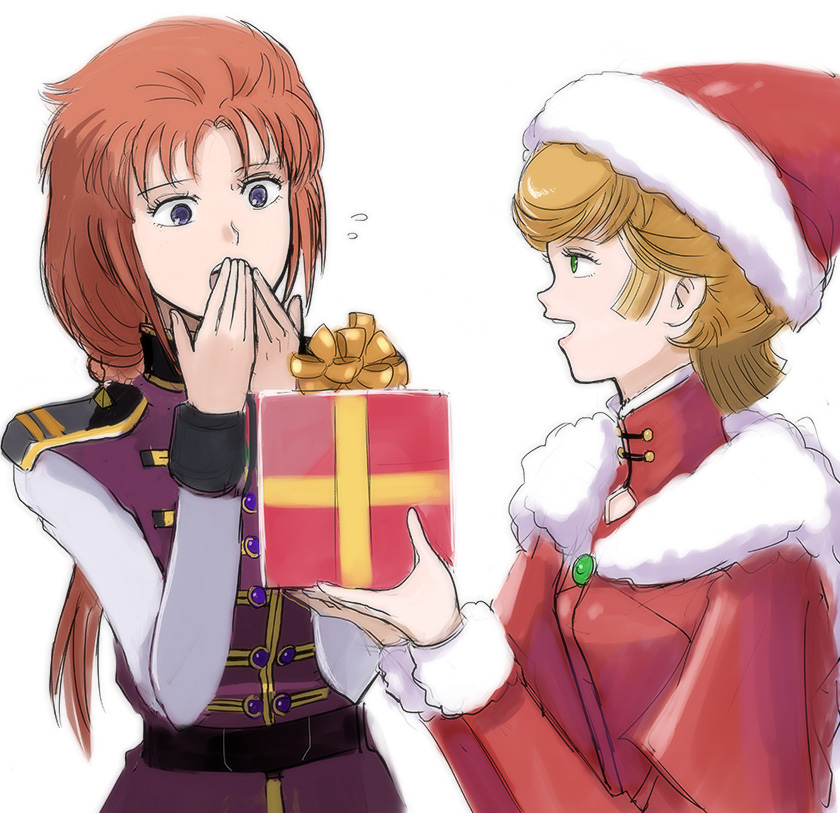 2girls audrey_burne belt box breasts christmas commentary_request gacha-m gift gift_box green_eyes gundam gundam_unicorn hat long_hair marida_cruz medium_breasts military military_uniform mineva_lao_zabi multiple_girls open_mouth orange_hair ponytail redhead santa_costume santa_hat short_hair simple_background uniform white_background