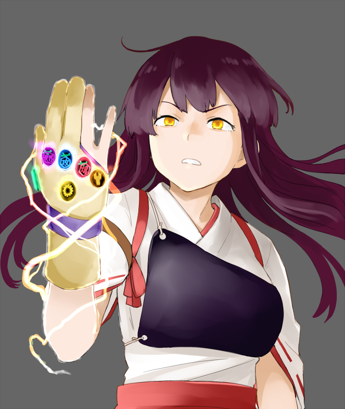1girl aircraft airplane akagi_(kantai_collection) angry armor avengers avengers:_endgame avengers:_infinity_war brown_hair commentary crossover gloves glowing glowing_eyes hakama_skirt infinity_gauntlet kantai_collection lightning_bolt marvel purple_hair ribbon-trimmed_sleeves ribbon_trim skirt thanos watanore weapon yellow_eyes