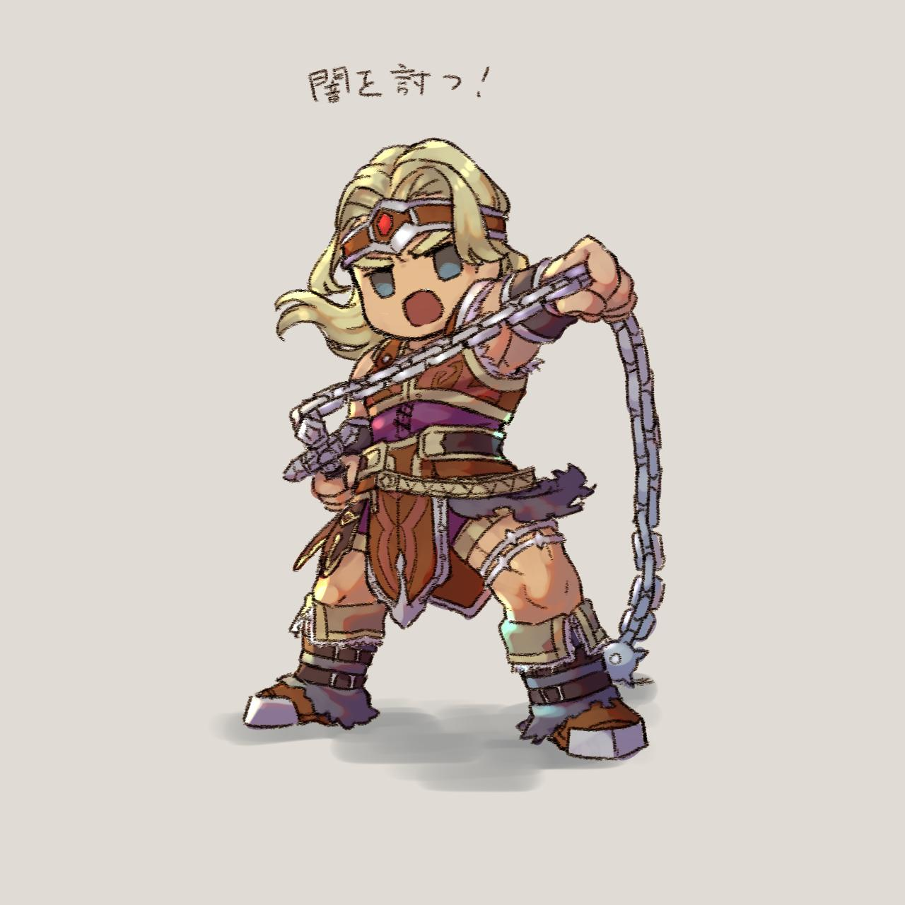 1boy armor belt blonde_hair blue_eyes castlevania chibi gloves headband highres ia_takame long_hair looking_at_viewer male_focus muscle open_mouth short_hair simon_belmondo simple_background smile solo super_smash_bros. translation_request weapon whip