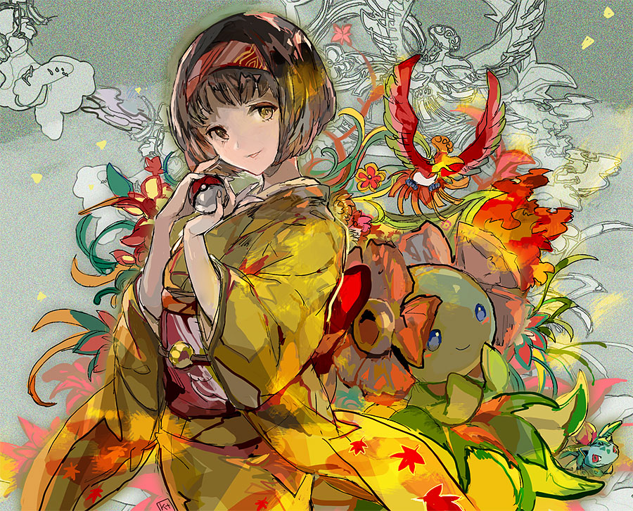 1girl bellossom black_hair brown_eyes cowboy_shot erika_(pokemon) full_body gen_1_pokemon gen_2_pokemon gym_leader hairband ho-oh holding holding_poke_ball ivysaur japanese_clothes kantarou_(8kan) kimono leaf_print looking_at_viewer parted_lips poke_ball pokemon pokemon_(creature) pokemon_(game) pokemon_hgss print_kimono red_hairband short_hair standing yellow_kimono