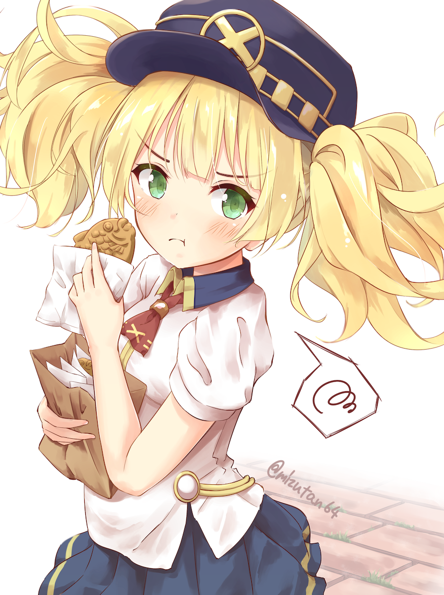 1girl :t bag bangs black_headwear blonde_hair blue_skirt blush closed_mouth collared_shirt commentary_request eating eyebrows_visible_through_hair flat_cap food green_eyes hat highres holding holding_bag holding_food long_hair looking_at_viewer mizutan64 monica_weisswind paper_bag pleated_skirt princess_connect! princess_connect!_re:dive puffy_short_sleeves puffy_sleeves red_neckwear shirt short_sleeves skirt solo spoken_squiggle squiggle taiyaki twintails twitter_username v-shaped_eyebrows wagashi white_background white_shirt
