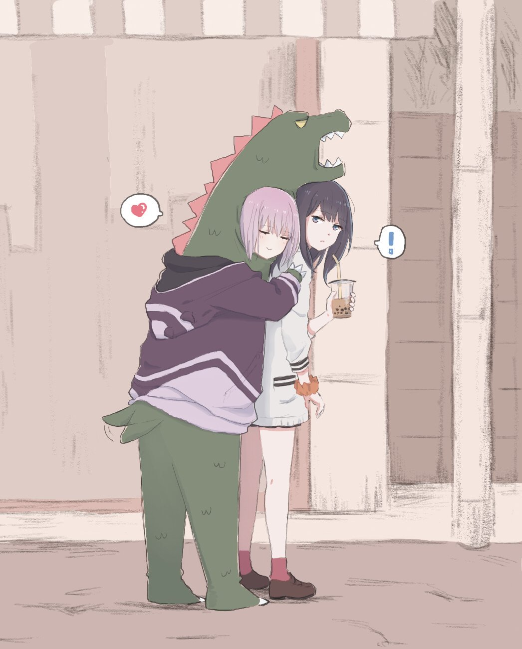 ! 2girls animal_costume black_hair bubble_tea closed_eyes commentary cup heart highres holding holding_cup hug hug_from_behind jacket long_hair lyy multiple_girls orange_scrunchie pink_hair purple_jacket scrunchie shinjou_akane spoken_exclamation_mark spoken_heart ssss.gridman standing tail_wagging takarada_rikka white_cardigan wrist_scrunchie