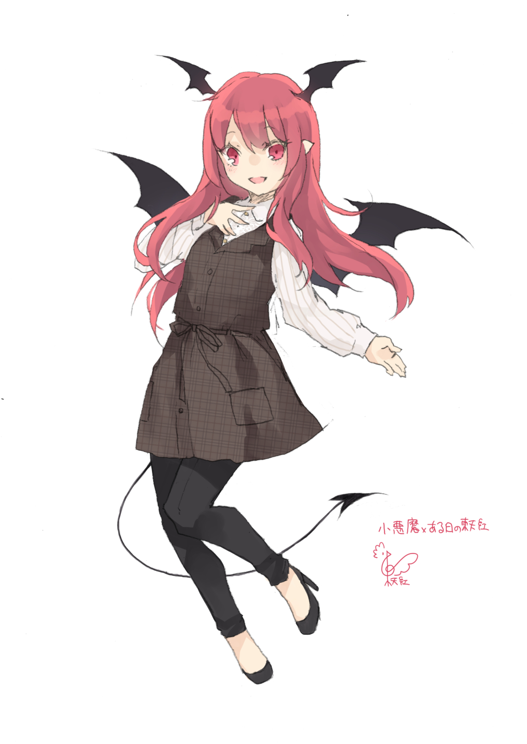 1girl :d adapted_costume bangs black_dress black_footwear black_pants black_sash blush commentary_request demon_tail demon_wings dress eyebrows_visible_through_hair full_body hand_on_own_chest head_wings high_heels highres koakuma leggings long_hair long_sleeves looking_at_viewer open_mouth pants plaid plaid_dress pocket pointy_ears red_eyes redhead sash shirt signature smile solo tail touhou toutenkou translation_request unmoving_pattern white_shirt wings