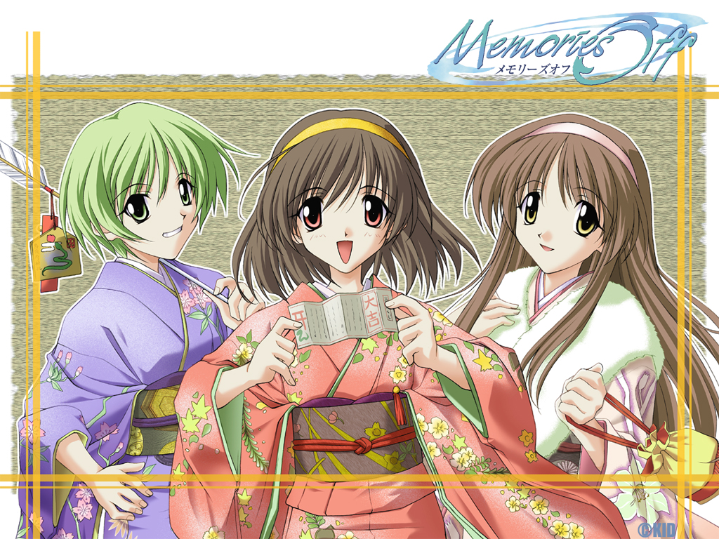3girls ahoge arrow artist_request bad_id bag black_hair brown_hair copyright_name ema fur furisode green_eyes green_hair grin hairband hamaya hand_on_hip hizuki_ayaka imasaka_yue japanese_clothes kimono long_hair long_sleeves memories_off multiple_girls new_year obi official_art omikuji open_clothes open_mouth otowa_kaoru over_shoulder porch red_eyes sash short_hair sidelocks smile snake translated triangle_mouth wallpaper watermark weapon weapon_over_shoulder yellow_eyes