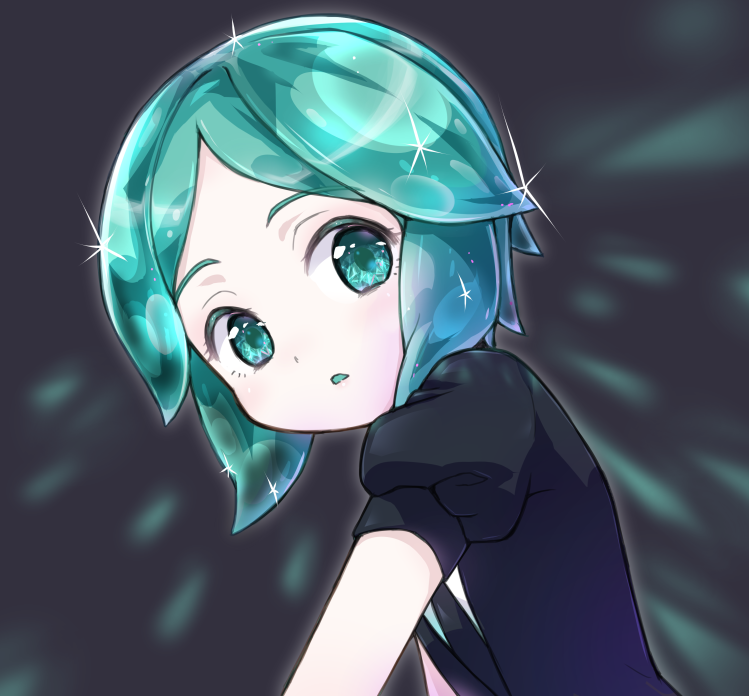 1other amimi androgynous aqua_eyes aqua_hair colored_eyelashes crystal_hair gem_uniform_(houseki_no_kuni) green_eyes green_hair houseki_no_kuni looking_at_viewer necktie phosphophyllite short_hair solo upper_body