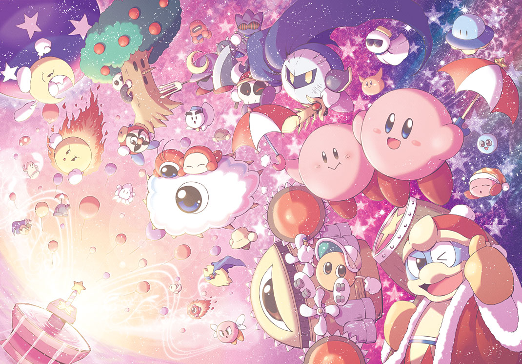 axe_knight_(kirby) balloon blue_eyes bronto_burt broom_hatter cappy_(kirby) chilly_(kirby) commentary_request cool_spook copy_ability dual_persona everyone fountain_of_dreams hammer javelin_knight king_dedede kirby kirby's_adventure kirby_(series) kracko mace_knight meta_knight mr._bright mr._shine mr._tick_tock nightmare nightmare_(kirby) noddy_(kirby) one_eye_closed paint_roller_(kirby) parasol satou_kairi_(u-garden) scarfy sky smile squid squishy_(kirby) star star_(sky) star_rod starman_(kirby) starry_sky thumbs_up trident_knight ufo_(kirby) umbrella waddle_dee waddle_doo whispy_woods