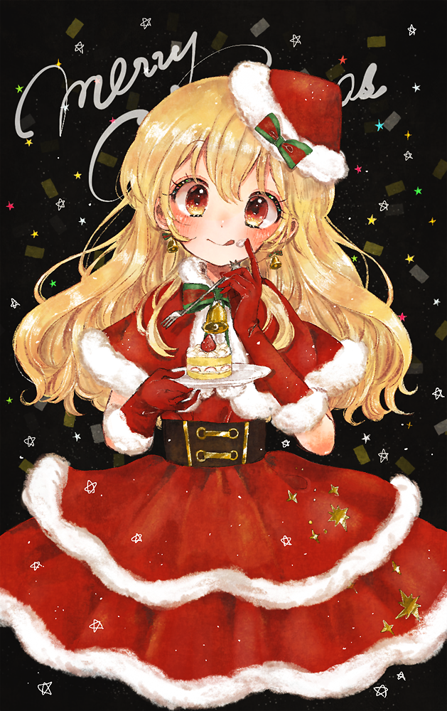 1girl :p aikatsu! aikatsu!_(series) bell bell_earrings belt blonde_hair blush bow cake capelet christmas commentary_request cross-eyed dress earrings food food_on_face fork fruit fur-trimmed_gloves fur-trimmed_hat fur_trim gloves hat holding holding_fork holding_plate hoshimiya_ichigo jewelry koedo long_hair looking_at_viewer merry_christmas no_legs plate red_capelet red_dress red_eyes red_gloves red_headwear santa_costume santa_dress santa_gloves santa_hat slice_of_cake smile solo star strawberry strawberry_shortcake tongue tongue_out whipped_cream
