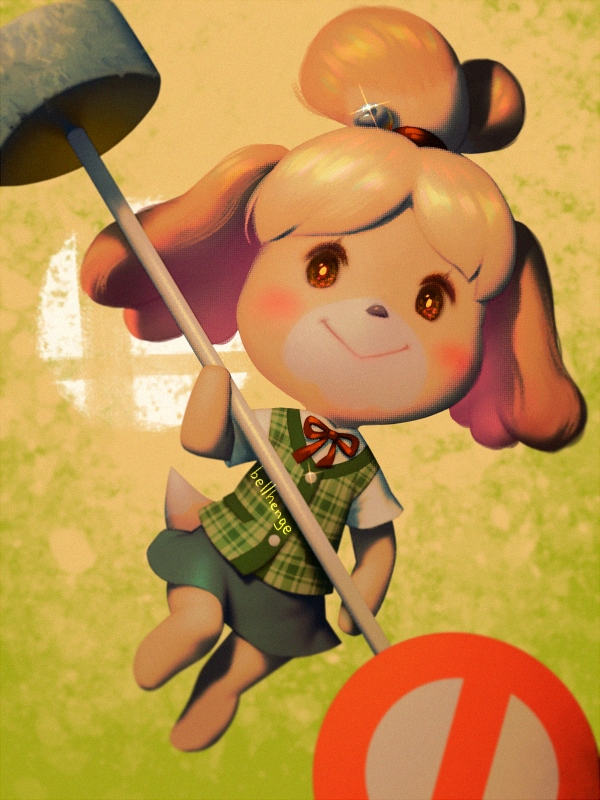 1girl animal_crossing:_new_leaf animal_ears bell bellhenge blush_stickers commentary dog dog_ears dog_girl dog_tail doubutsu_no_mori english_commentary furry hair_bell hair_ornament looking_at_viewer nintendo nintendo_ead no_humans shizue_(doubutsu_no_mori) solo super_smash_bros. tail tobidase:_doubutsu_no_mori topknot