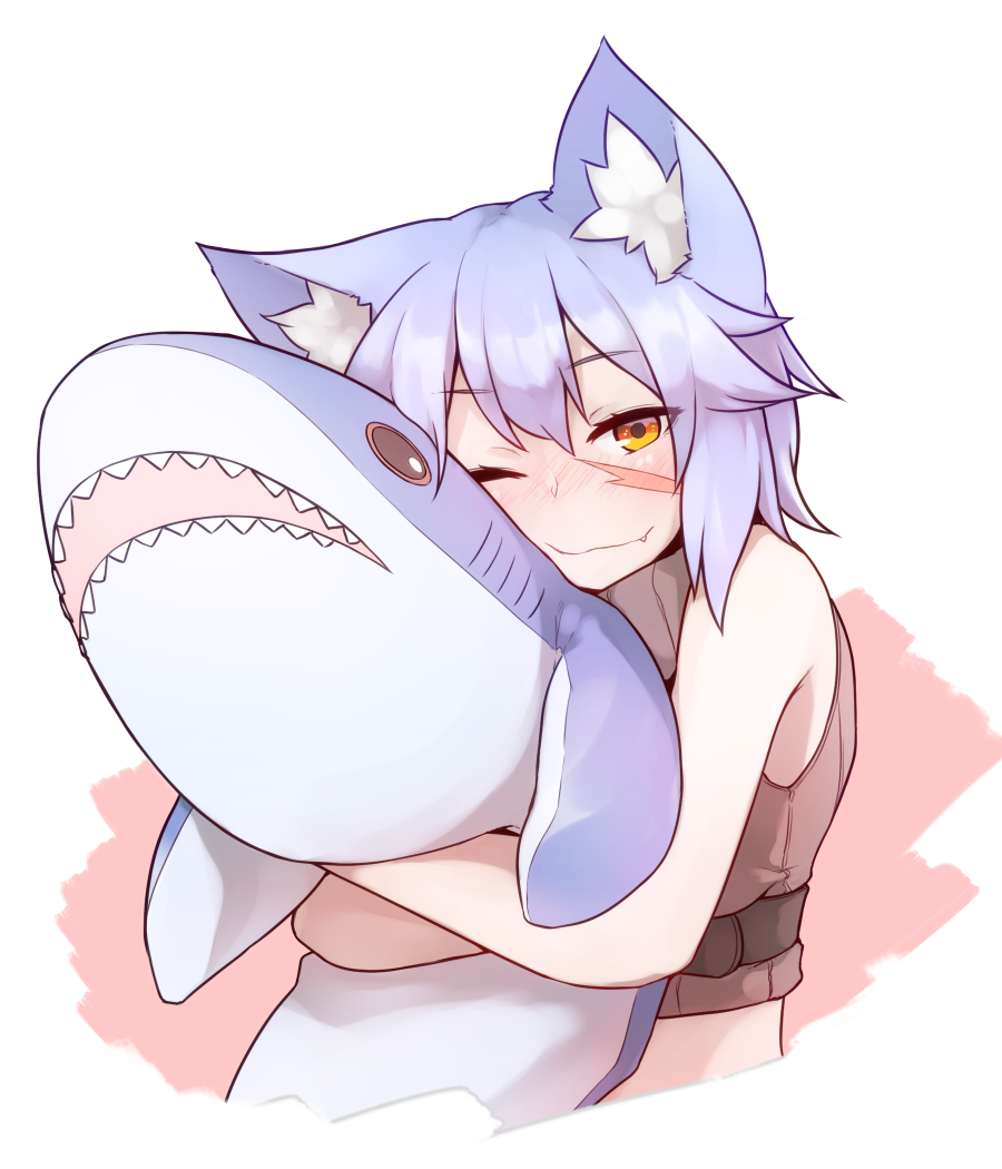 1girl animal_ears blue_hair blush cat_ears closed_mouth eyebrows_visible_through_hair fang holding ikea_shark looking_at_viewer one_eye_closed orange_eyes original ryota_tentei scar shark short_hair simple_background smile solo stuffed_animal stuffed_shark stuffed_toy teeth tora_tentei